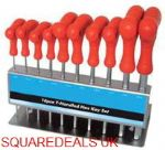 T Handle Hex Allen Key Set 10Pc Metric & Stand